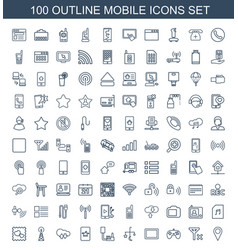 100 mobile icons vector