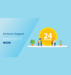 24 hours support service concept for website vector image