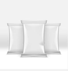 3d white blank potato chips foil bag pack mockup vector
