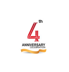 4 anniversary celebration logotype with red color vector