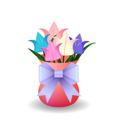 a bouquet of origami tulips in vase and o vector image