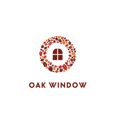 acorn oak wreaths autumn fall with window logo vector image