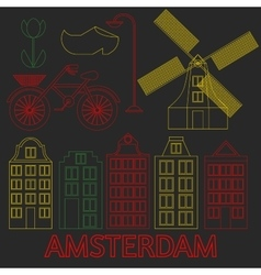Amsterdam city flat line art Travel landmark vector image