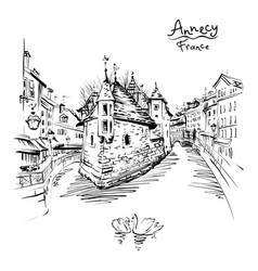 annecy venice of the alps france vector image