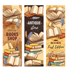 Antique book vintage bookstore or bookshop ink vector