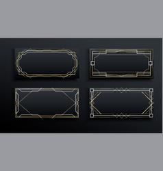 Art deco gold black frame template set vector