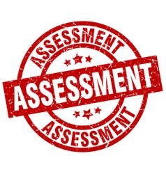 Assessment round red grunge stamp vector