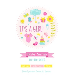Baby Girl Shower or Arrival Card vector image