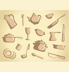 Background of kitchen ware vector