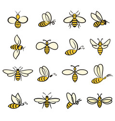 Bee icons colour vector