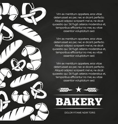 Blackboard poster with bread and croissant vector