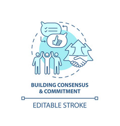 Building consensus and commitment concept icon vector