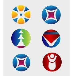 Business Icons Set Round Business Logo vector image