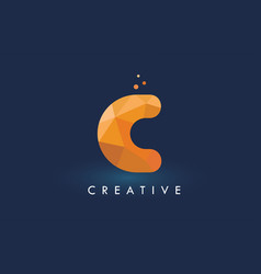 c letter with origami triangles logo creative vector image