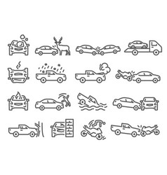 car bike vehicle accident outline icons set vector image