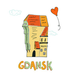 card with crane in gdansk poland vector image