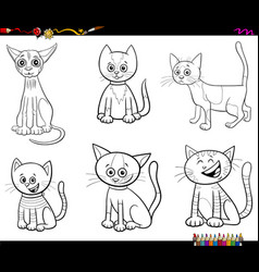 cartoon cats and kittens set color book page vector image