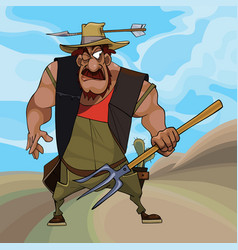 cartoon funny farmer defends himself with a vector image