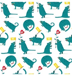 Cartoon Monster Dogs Seamless Pattern vector