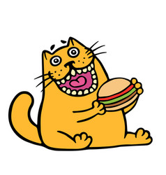Cartoon orange cat is eating a hamburger isolated vector