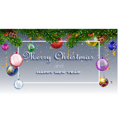 christmas card with fir branches and decorations vector image