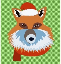 Christmas fox portrait vector image