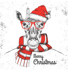 Christmas hipster fashion animal giraffe vector