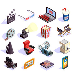 Cinema isometric icons set vector