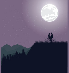 couple silhouette under the moon in bicycle riding vector image