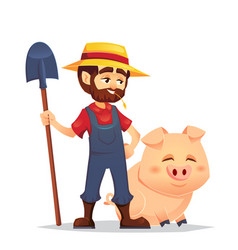 cute cartoon joyful mature male young guy farmer vector image