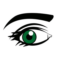 Cute female green eye look vision design vector