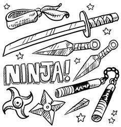 doodle ninja weapons vector image