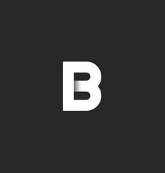 elegant b letter logo paper cut material design vector image