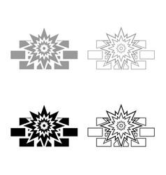 explosion brick wall icon outline set black grey vector image