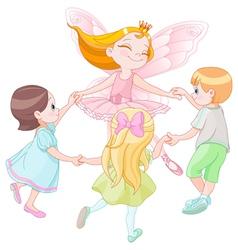 Fairy dancing with children vector