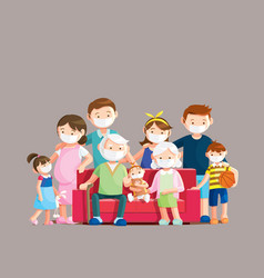 family wear face masks for preventing covid-19 vector image