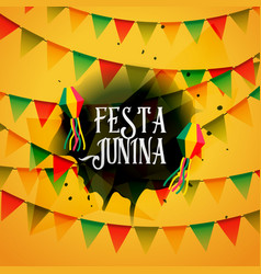 Festa junina background with colorful garlands vector