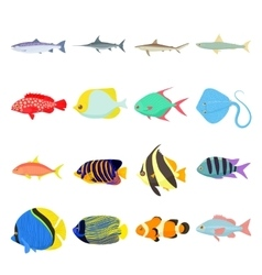 Fish icons set vector image