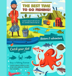 Fishing sport and fisher catch tackles equipment vector