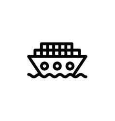 flat line ship cargo icon symbol sign logo vector image