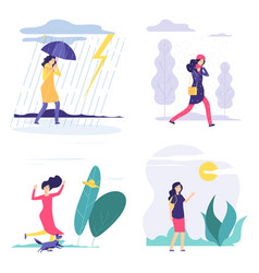 four seasons woman various weather vector image