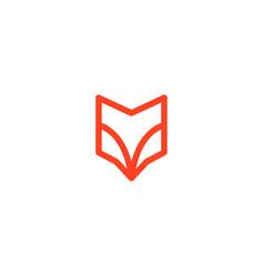fox head abstract shield logo line art outline vector image