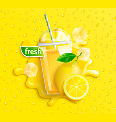fresh lemon juice with ice and fruits vector image