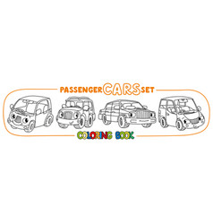 funny small city cars with eyes coloring book set vector image