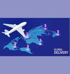 global delivery concept aircraft on the vector image