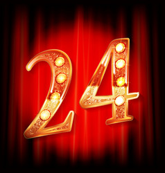 gold numbers 24 greeting card vector image