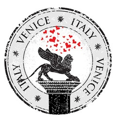 grunge stamp venice hearts to italy inside vector image
