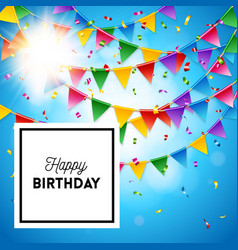 happy birthday card stationery template in blue vector image