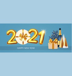 happy new 2021 year party poster template with vector image