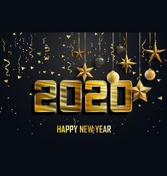 Happy new year 2020 logo text design cover of vector